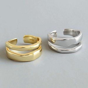 NEW Gold/Sterling Silver Wave Open Adjustable Ring